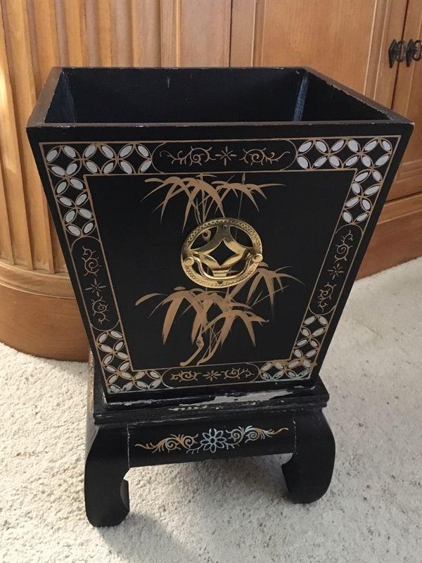 Antique Oriental Painted Wood Plant Holder