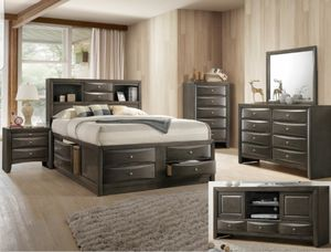 BRAND NEW QUEEN BEDROOM SET INCLUDES BED FRAME DRESSER MIRROR AND NIGHTSTAND ADD MATTRESS ALL NEW FURNITURE BY USA MEXICO FURNITURE 3 DIFERENT COLORS for Sale in Claremont, CA