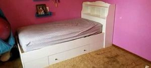 White Twin Size Bed Frame With Bookcase And Drawers + mattress for Sale in Salem, OR