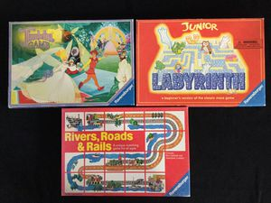 Ravensburger games THUMBELINA, LABYRINTH, RIVERS, ROADS, RAILS for Sale in Hudson, OH