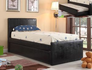 Leo Black Faux Leather Twin Bed with Trundle | 4527 for Sale in Bellaire, TX