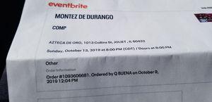 Tickets para Montes y Diana Reyes 60 el par for Sale in Aurora, IL