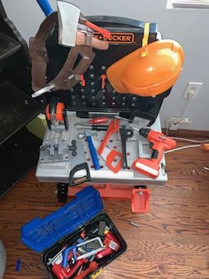 Black and Decker toy workbench with lots of extra tools for Sale in Whittier, CA