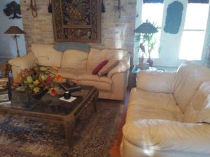 White two-piece leather real leather couches for Sale in San Antonio, TX