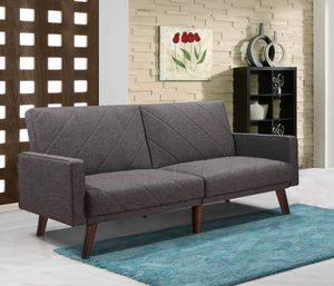 GRAY Split Back Linen Fabric Futon Sofa Bed with Lines for Sale in Pico Rivera, CA