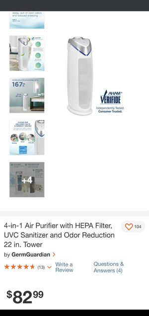 4-in-1 Air Purifier with HEPA Filter, UVC Sanitizer and Odor Reduction 22 in. Tower by GermGuardian for Sale in Los Angeles, CA