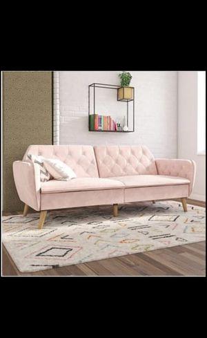 Pink velvet futon couch for Sale in Laguna Beach, CA