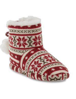 Holiday boots Indoor/outdoor booties slippers rubber outsole warm & comfy Red white ankle height size 6 7 8 for Sale in El Monte, CA