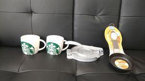 Imusa tortilla press ,new small mini pan,starbuck coffee mug's for Sale in Sterling, VA
