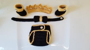 Crochet Baby Boy Prince Diaper Cover Outfit Newborn for Sale in Lyons, GA