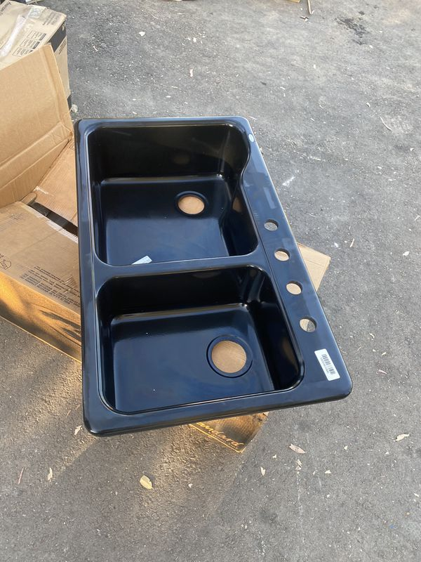 "(New) American Standard 36"" Black Kitchen Sink"