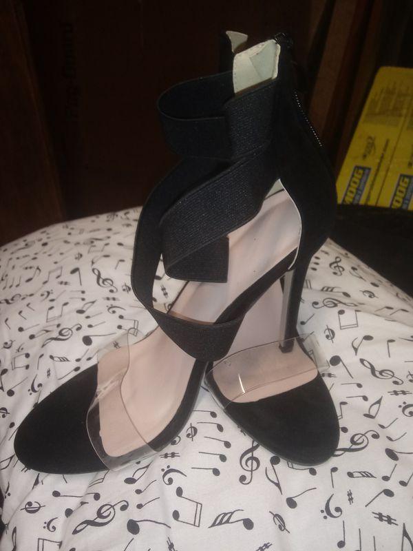 Gladiator style black heels.