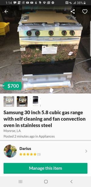 Samsung 30inches 5.8 cubic gas range with self cleaning and fan convection for Sale in West Monroe, LA