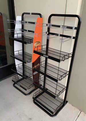 NEW $75 for 2 Racks 17x16x52 Inch Tall Commercial Retail Conveninece Store Product Candy Snack Rack Merchandise Shelf swapmeet restaurant store for Sale in Covina, CA