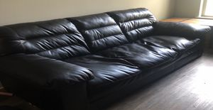 Couch : Black Faux-Leather couch- Great condition- ($125) for Sale in Washington, DC