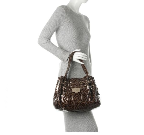 Jimmy Choo Riki Leopard Print Brown Patent Leather Satchel
