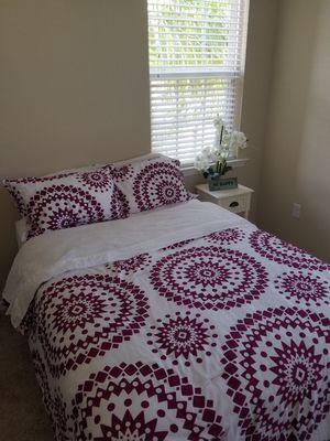 Brand new full mattress, box spring, frame. Bedding and pillows included for Sale in Bonita Springs, FL