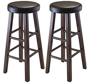 (2) Winsome Wood Round Bar Stools with Leather Cushion Seat for Sale in Seattle, WA