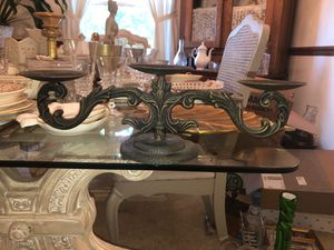 "16"" Long, 5"" Tall, Hand made Antique Cast Iron 3 Pillar Table Candelabra on Pedestal; HEAVY for Sale in Plainfield, IL"