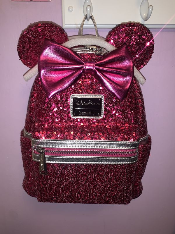 LOUNGEFLY DISNEY MINNIE MOUSE PINK SEQUIN MINI BACKPACK