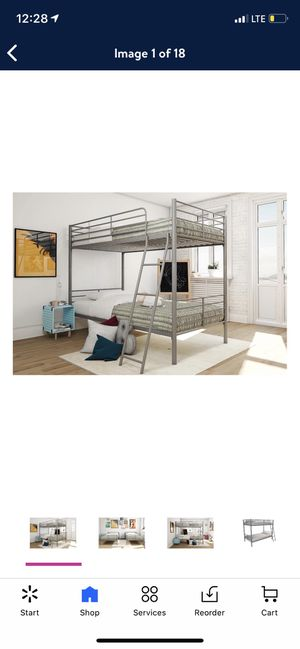 Mainstays twin over twin convertible bunk bed, silver for Sale in Las Vegas, NV