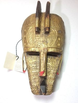 West African Hand Carved Wooden Mask ~ Metal Armored Voodoo Art Relic Made in Ghana for Sale in Village, OK
