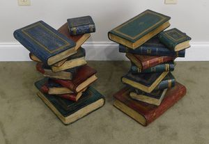 Stacked Books Hand Painted Pair Side Tables for Sale in Atlanta, GA