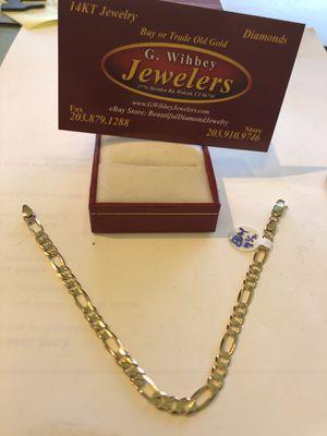 "14 kt real gold figaro bracelet 7 1/2"" for Sale in Wolcott, CT"