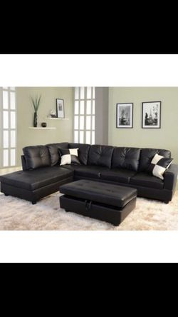 🔥New! Comfy black urban sofa sectional w/XL STORAGE OTTOMAN for Sale in Escondido,  CA