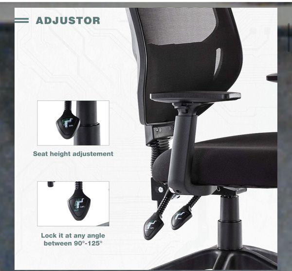 Mid Back Ergonomic Swivel Black Mesh Computer Chair Adjustable Height and Armrest with Lumbar Support Task Chair Rimiking Mesh Office Chair