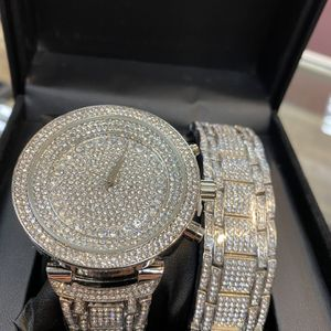 New Mens Quartz Watch Set With Lab Diamonds $100 for Sale in Las Vegas, NV