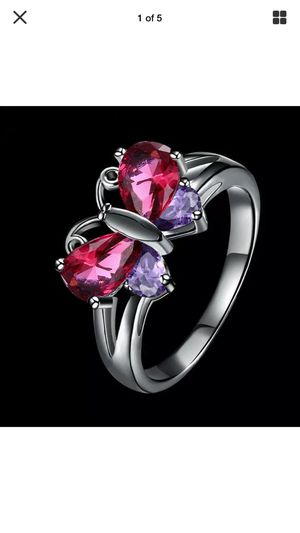 Butterfly ring purple and red sapphires on sterling silver band sz7 for Sale in Northfield, OH