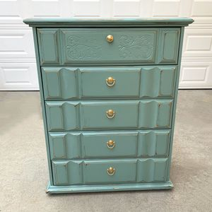 Awesome green and gold shabby distressed dresser for Sale in San Diego, CA
