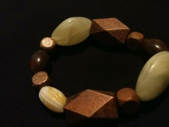 Vintage Wooden Beaded And Synthetic Crystal Stretch Fit Bracelet for Sale in Gresham,  OR