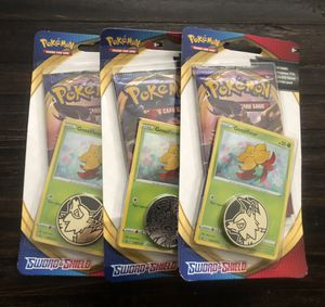 Pokemon Sword and Shield 3 packs with coins for Sale in Las Vegas, NV