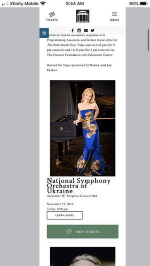 $60 each-National Symphony Orchestra of Ukraine-Alexander W. Dreyfoos Concert Hall November 19, 2019 for Sale in West Palm Beach, FL