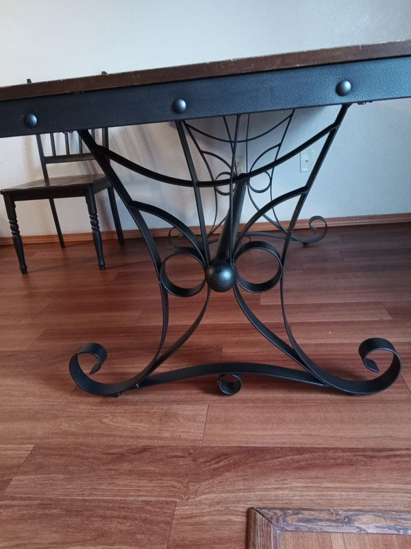 Heavy duty brass wood family table and chairs