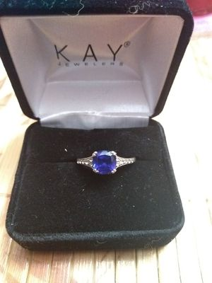 Blue Sapphire Sterling Silver Diamond Ring for Sale in Falcon, MO