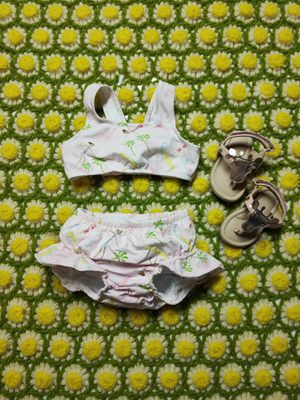 6M-12M NWOT Bundle set 4 Flap Happy 50+ spf baby girl cotton bikini giraffe sandles rose gold ruffle pink for Sale in Walnut, CA