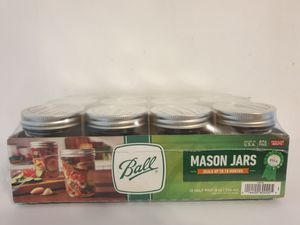 Ball Half Pint (8 oz.) Regular Mouth Mason Jars Canning Jars w/ Cap - Set of 12 for Sale in New York, NY