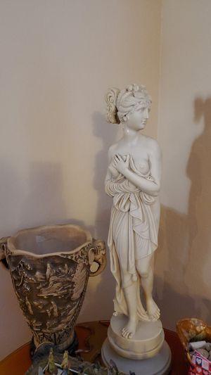 Vintage ceramic Goddess and antique vase with elephant head handles for Sale in Glendale, AZ