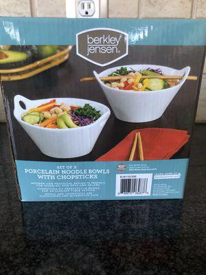 Set of 2 Porcelain Noodle Bowls with chopsticks for Sale in Phoenixville, PA