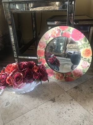 Floral Roses Mirror, silk flower arrangement and Couture Rose Wall art for Sale in Fountain Hills, AZ