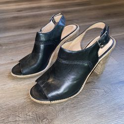 Women's Size 9.5 Madewell Heel Black Leather Mule Shoes for Sale in Bloomington,  IL