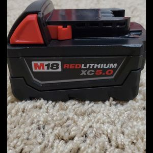 Brand new never used Milwaukee M18 18-Volt Lithium-Ion XC Extended Capacity 5.0Ah Battery Pack $$ 60 firm for Sale in Bakersfield, CA