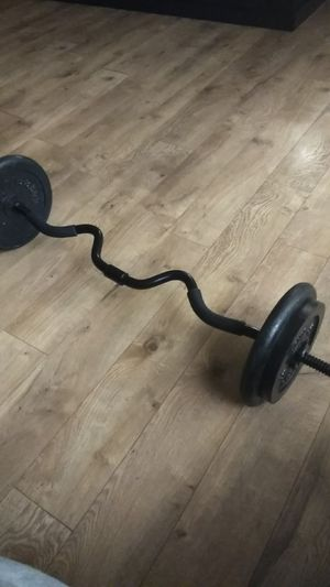 80 Pound adjustable curl bar weight set for Sale in Naperville, IL