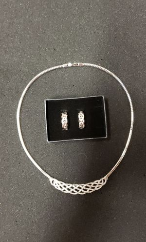 Christmas Set 1/4 carat diamond platinum overlay necklace and Infinity earrings for Sale in Romansville, PA
