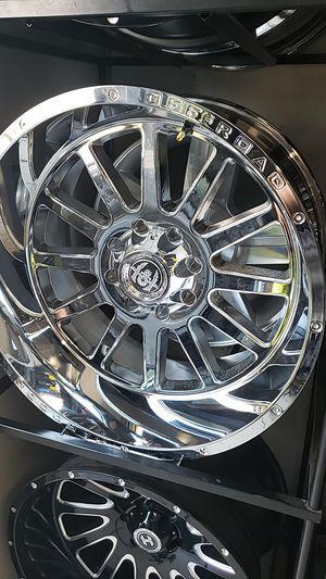 22x12 Chrome hardcore offroad rims 8 lug 8x165 wiht New MUD tires 33 1250 22 lt for Sale in Phoenix, AZ