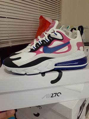 """BRAND NEW 'NEVER WORN OR TRIED ON' NIKE AIR MAX 270 REACT """"WHT/HYPER BLUE"""" W/ORG BOX WOMEN'S SIZE 7.5 'PICK UP ONLY' $160$ OBO!! for Sale in San Bernardino, CA"""