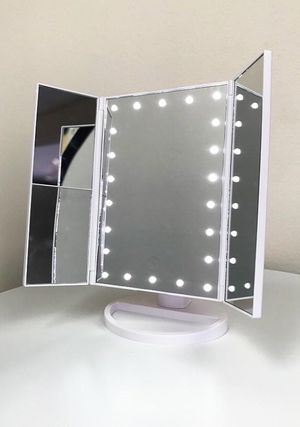 """Brand new $20 each Tri-fold LED Vanity Makeup 13.5""""x9.5"""" Beauty Mirror Touch Screen Light up Magnifying for Sale in Downey, CA"""
